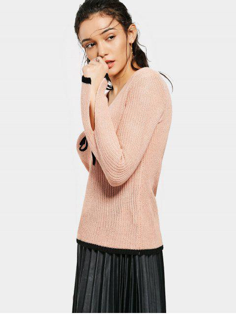women Flare Sleeve Contrasting V Neck Sweater - PINK S Mobile