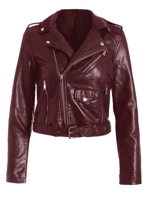 buy Zip Up Belted Faux Leather Biker Jacket - WINE RED S Mobile