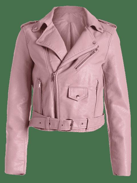 ladies Zip Up Belted Faux Leather Biker Jacket - LIGHT PINK S Mobile