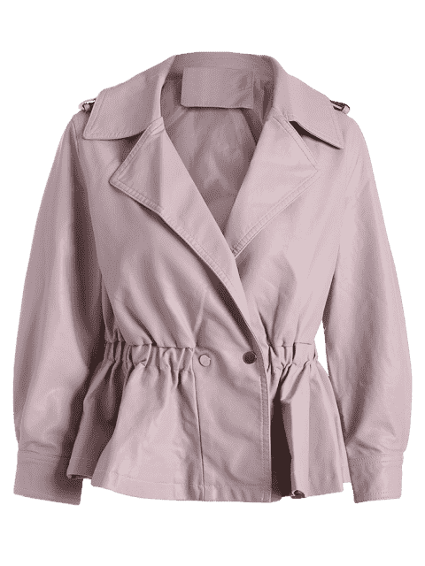 women Snap Buttons Faux Leather Jacket - LIGHT PINK M Mobile