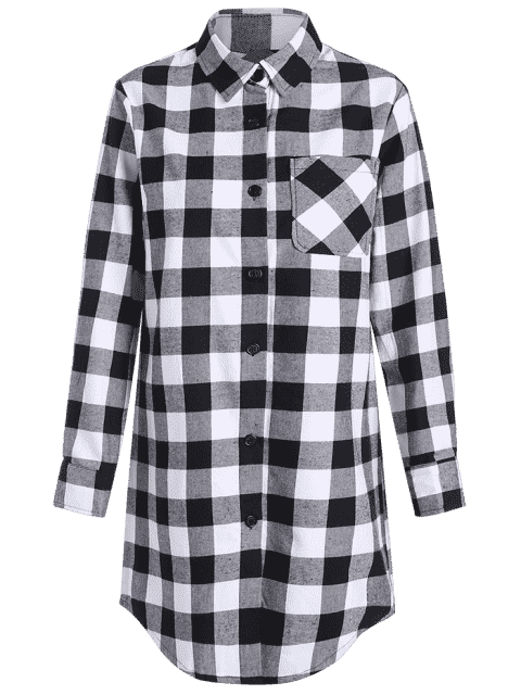 fancy Checked High-Low Shirt Collar Long Sleeve Dress - BLACK M Mobile