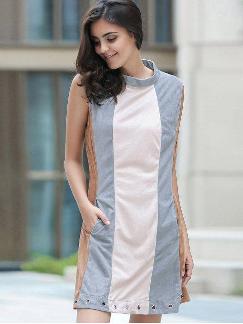 buy Cut Out Hit Color Round Neck Sleeveless Dress - BLUE GRAY S Mobile