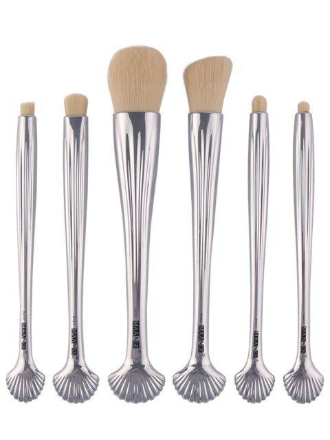 6 Pièces Pinceaux à Maquillage pour Visage et Yeux avec Manches à Motif Minuscules Coquillage et Plaquées - Argent  Mobile