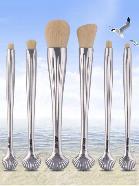 shop 6Pcs Plated Shell Facial Eye Makeup Brushes Set - SILVER  Mobile