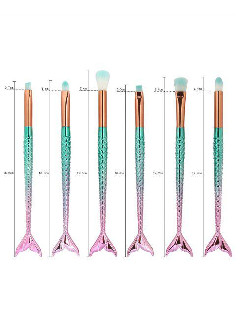 6Pcs Eye Ombre Sirma Tail Handle Makeup Brushes - Bleu Rosé  Mobile