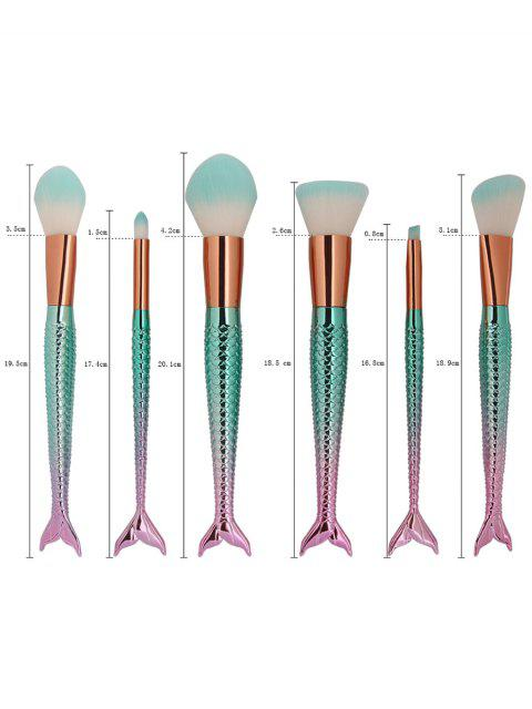 6Pcs Eye Eye Ombre Sirma Handle Makeup Brushes - Bleu Rosé  Mobile
