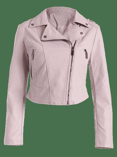 outfit Faux Leather Asymmetric Zipper Jacket - LIGHT PINK M Mobile