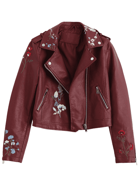 fashion Floral Patched Zippered Faux Leather Jacket - WINE RED L Mobile