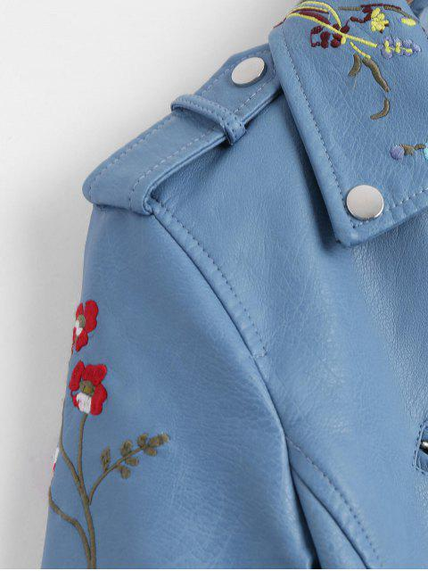 sale Floral Patched Zippered Faux Leather Jacket - LIGHT BLUE L Mobile
