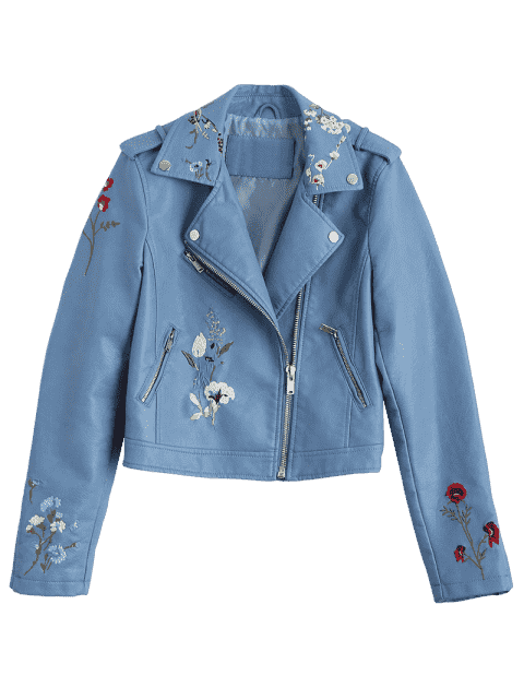 affordable Floral Patched Zippered Faux Leather Jacket - LIGHT BLUE M Mobile
