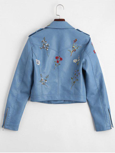 buy Floral Patched Zippered Faux Leather Jacket - LIGHT BLUE S Mobile