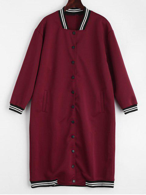womens Snap Button Pockets Striped Long Coat - DEEP RED ONE SIZE Mobile