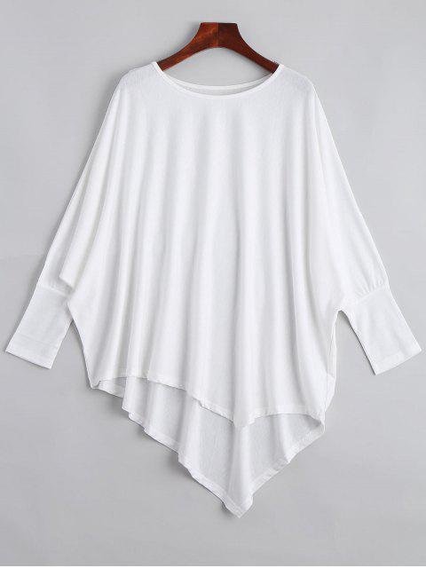 shop Dolman Sleeve Asymmetric Tee - WHITE ONE SIZE Mobile
