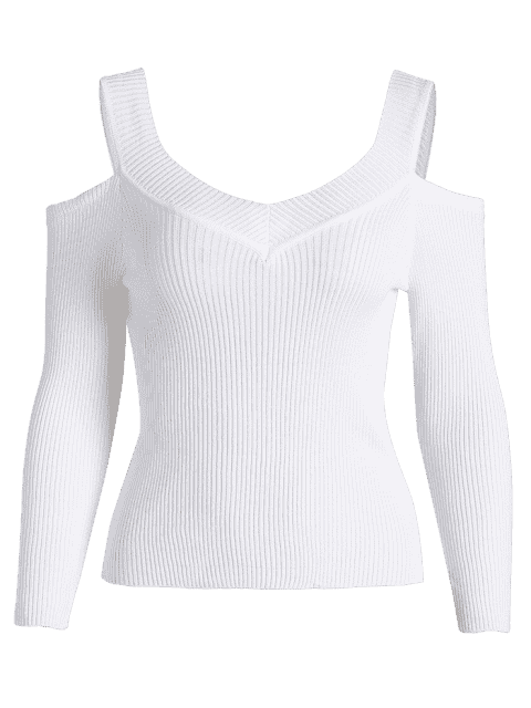 T-shirt à bout côtelé à froid - Blanc TAILLE MOYENNE Mobile