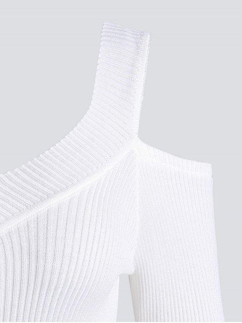 trendy Cold Shoulder Ribbed Knitted Tee - WHITE ONE SIZE Mobile