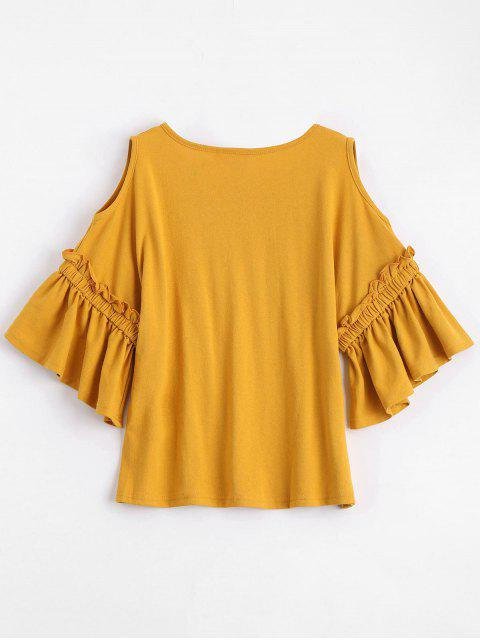 women Floral Patched Flare Sleeve Cold Shoulder Tee - GINGER ONE SIZE Mobile
