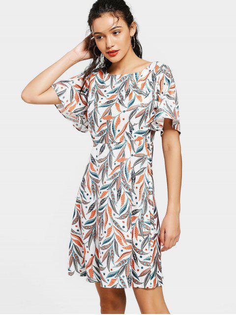 new Flouncy Sleeve Leaves Print Mini Dress - COLORMIX S Mobile