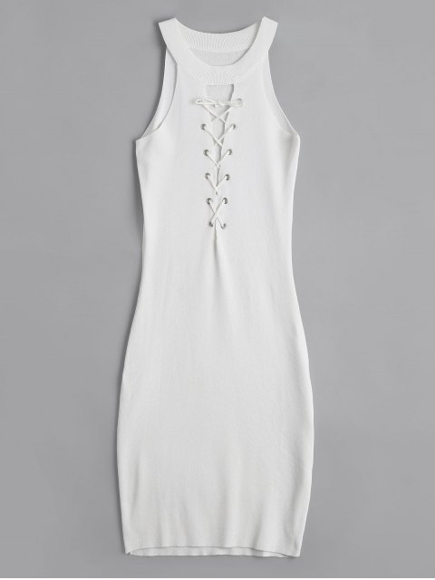 Robe Bodycon à Lacets en Tricot - Blanc TAILLE MOYENNE Mobile