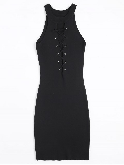 womens Knitting Lace Up Bodycon Dress - BLACK ONE SIZE Mobile