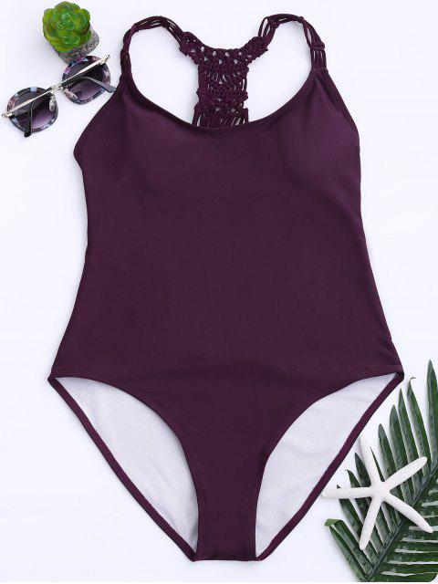 lady Strappy Cutout One Piece Swimsuit - WINE RED L Mobile
