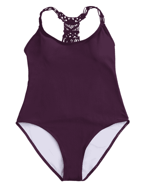 best Strappy Cutout One Piece Swimsuit - WINE RED M Mobile