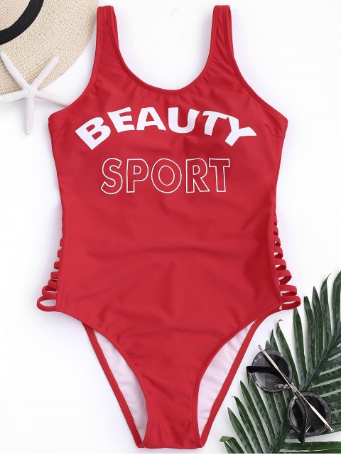 hot Low Back Beauty Sport One Piece Swimwear - RED L Mobile