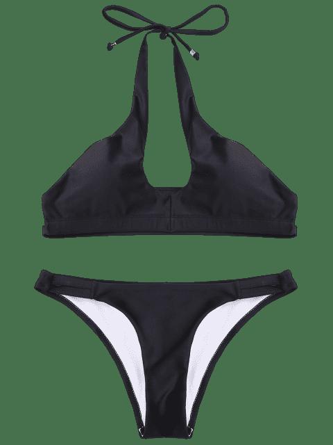 shops Cut Out Banded Halter Bikini Set - BLACK S Mobile