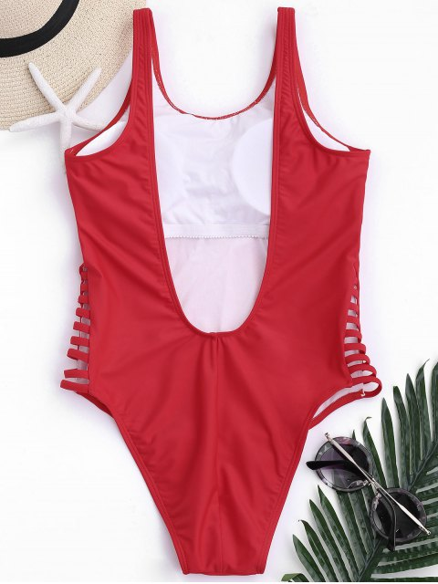 shop Low Back Beauty Sport One Piece Swimwear - RED S Mobile