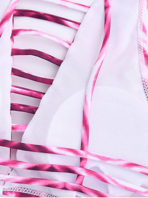 sale Strappy Tie Dye High Neck Bikini Set - COLORMIX S Mobile