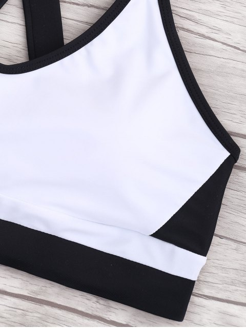 buy Cross Back Color Block Sporty Bikini - WHITE AND BLACK XL Mobile