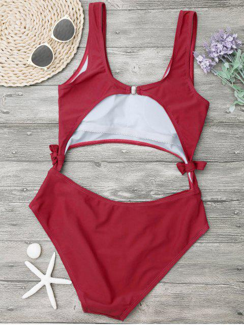 womens High Leg Cut Out Bowknot Swimwear - RED L Mobile