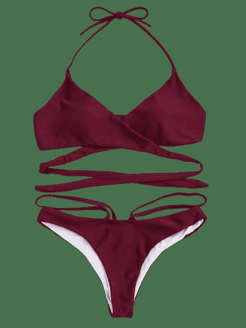hot Halter Strappy Wrap Bikini Set - RED S Mobile