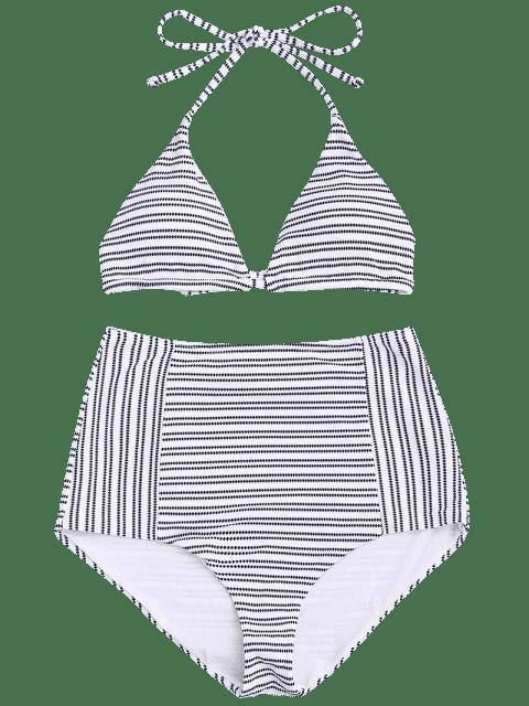 outfit Striped Halter High Waisted Bikini - STRIPE L Mobile