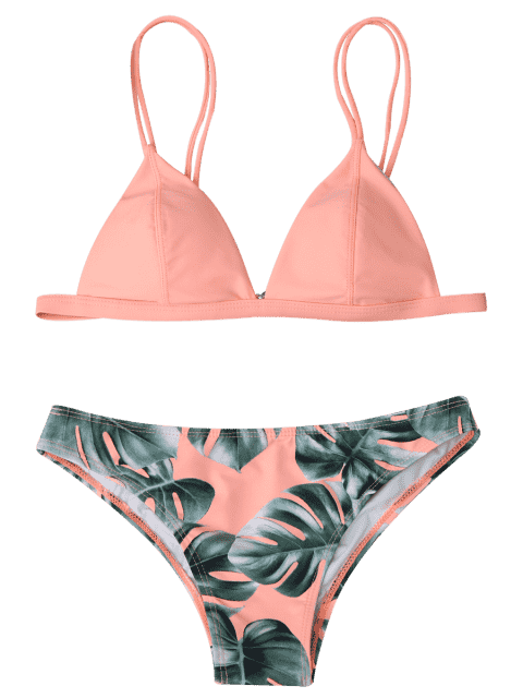 affordable Cami Palm Leaf Print Bikini - ORANGEPINK M Mobile
