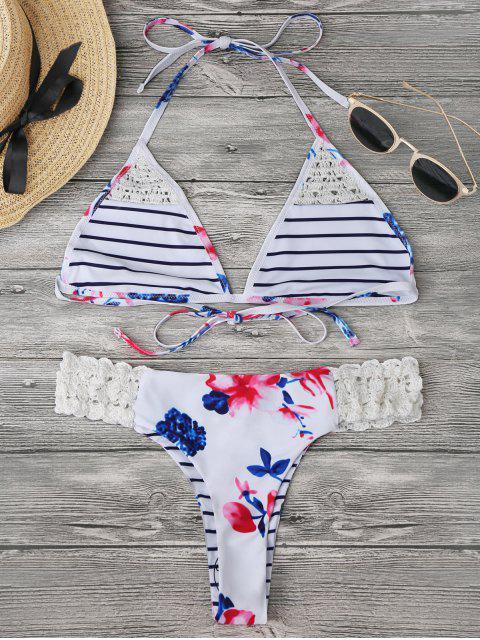 womens Bralette Floral Crochet Panel Bikini - WHITE XL Mobile