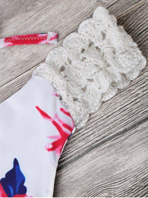 women Bralette Floral Crochet Panel Bikini - WHITE L Mobile