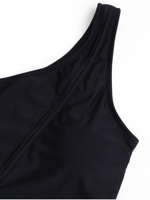 lady One Shoulder One Piece Swimwear - BLACK L Mobile