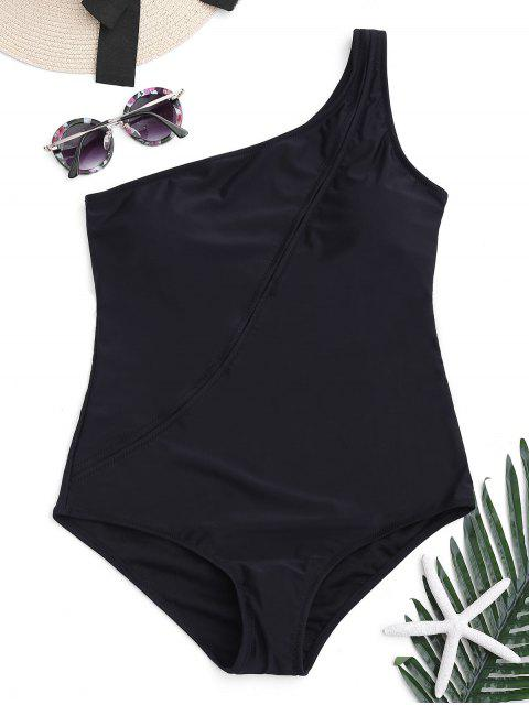 lady One Shoulder One Piece Swimwear - BLACK L Mobile