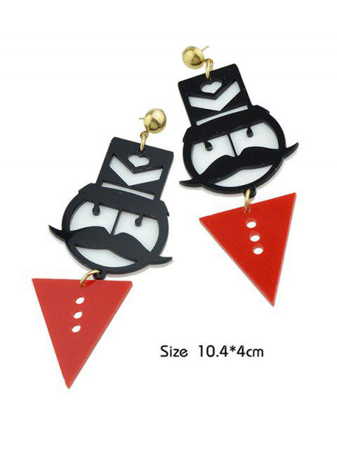 Boucles d'oreilles en forme de géométrie en moustache - Rouge  Mobile