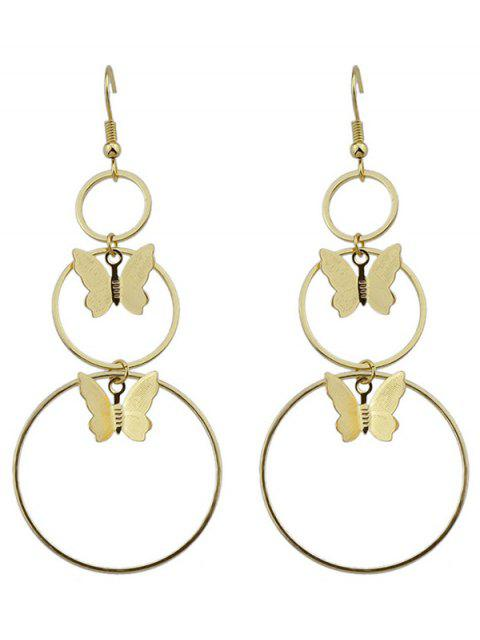 shops Metal Circle Butterfly Hook Earrings - GOLDEN  Mobile