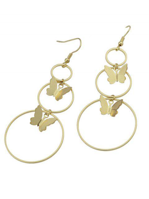 shops Metal Circle Butterfly Hook Earrings - GOLDEN  Mobile
