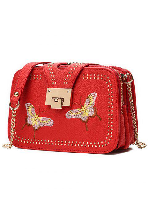 latest Studded Embroidery Chain Crossbody Bag - RED  Mobile