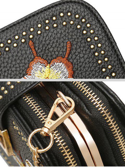 fashion Studded Embroidery Chain Crossbody Bag - BLACK  Mobile