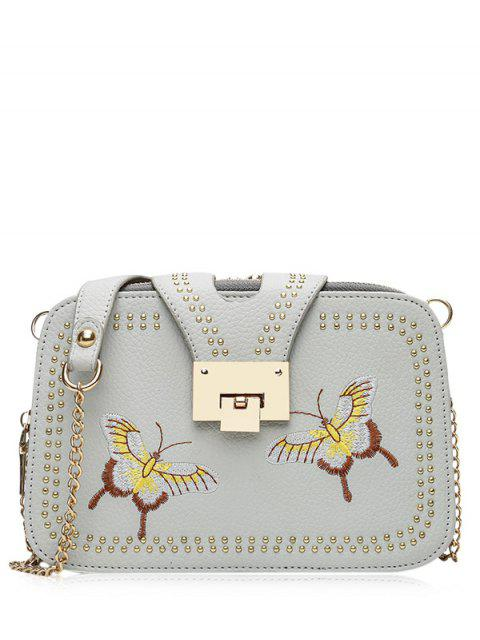 chic Studded Embroidery Chain Crossbody Bag - GRAY  Mobile