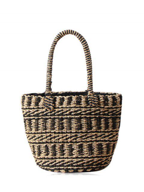 women's Color Block Straw String Tote Bag - BLACK  Mobile