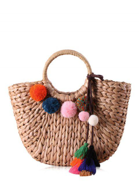 ladies Straw Pom Pom Tassels Tote Bag - CAMEL  Mobile