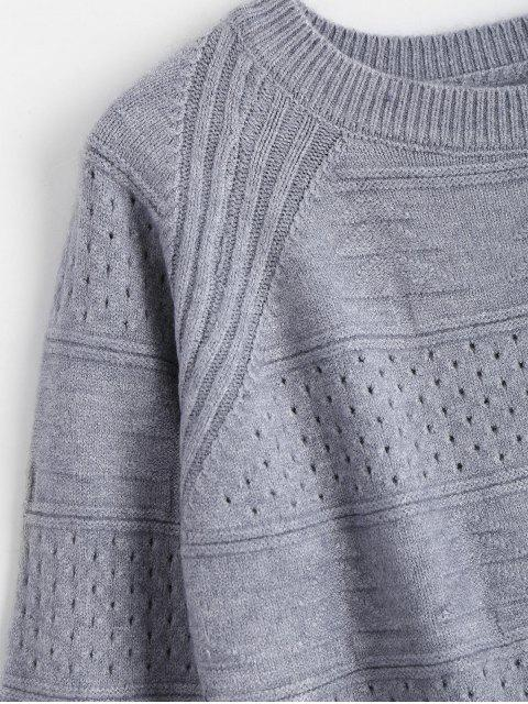 lady Hollow Out Crew Neck Sweater - BLUE GRAY ONE SIZE Mobile