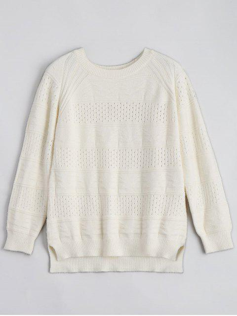 online Hollow Out Crew Neck Sweater - BEIGE ONE SIZE Mobile