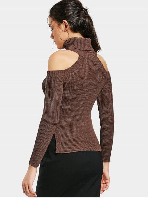 outfits Side Slit Cold Shoulder Turtleneck Sweater - BROWN M Mobile