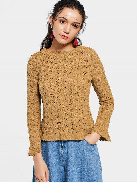 latest Flare Sleeve Scalloped Sheer Sweater - LIGHT COFFEE S Mobile